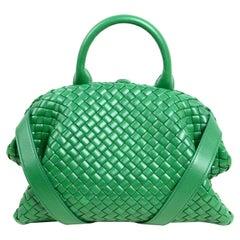 Bottega Veneta Racing Green The Handle Small Intrecciato Leather Bag rt $3,750