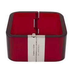 Bottega Veneta Red Acrylic Clamper Bracelet
