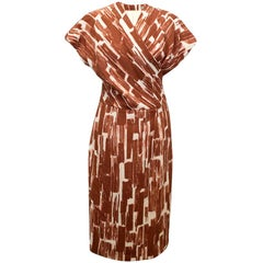 Bottega Veneta Red/Brown and Cream Pattern Dress - Size US 6