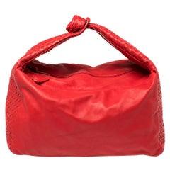 Bottega Veneta Red Intrecciato Leather Large Knot Hobo