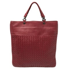 Bottega Veneta Red Intrecciato Leather Slim Tote