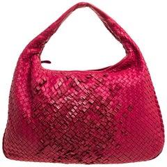 Bottega Veneta Red Intrecciato Nappa Leather Veneta Hobo