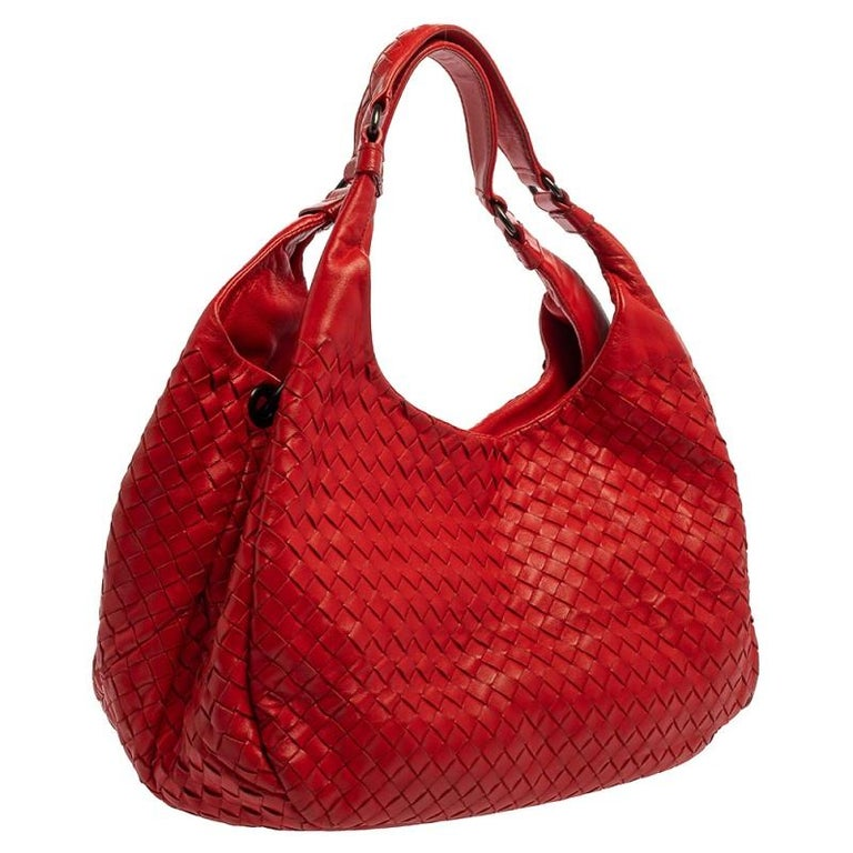 Women's Bottega Veneta Red Leather Intrecciato Campana Hobo For Sale