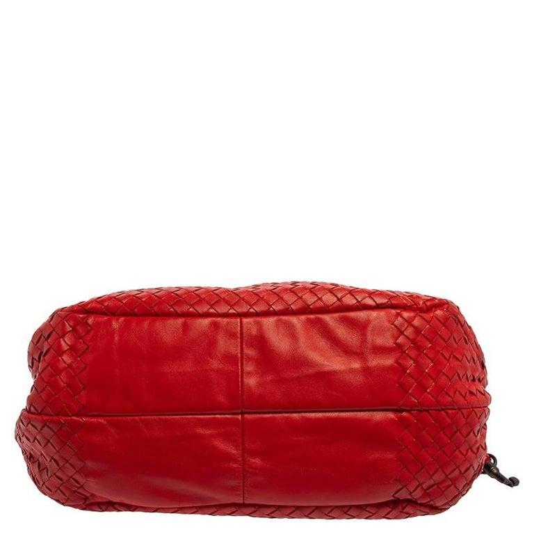 Bottega Veneta Red Leather Intrecciato Campana Hobo For Sale 1