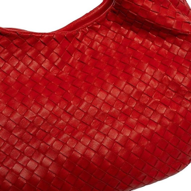 Bottega Veneta Red Leather Intrecciato Campana Hobo For Sale 2
