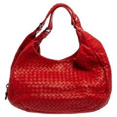 Bottega Veneta Red Leather Intrecciato Campana Hobo