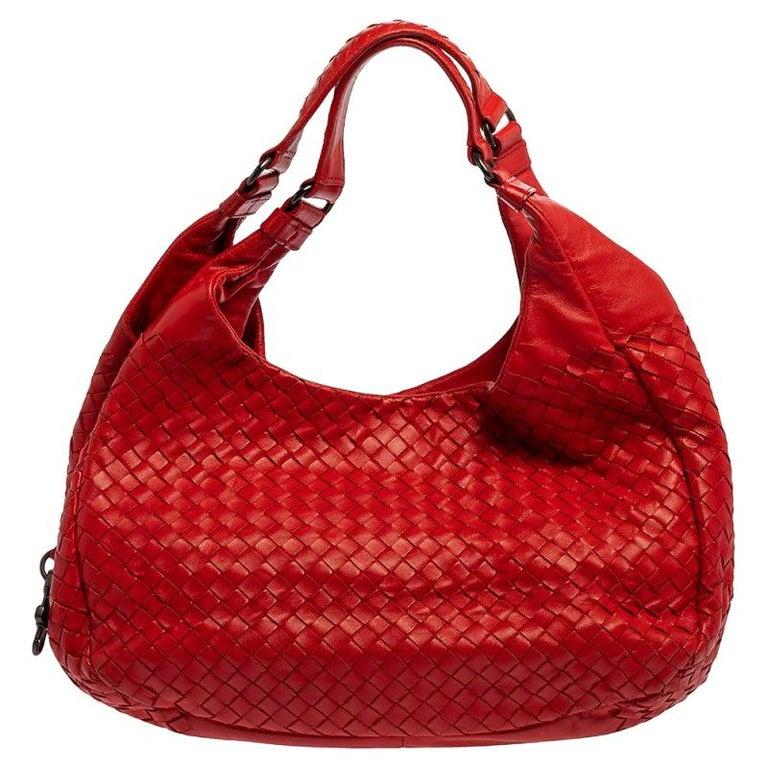 Bottega Veneta Red Leather Intrecciato Campana Hobo For Sale