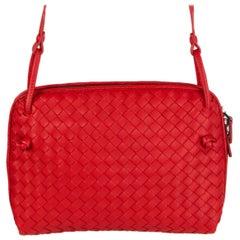 BOTTEGA VENETA red leather INTRECCIATO NODINI Crossbody Shoulder Bag