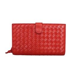 Bottega Veneta Red Woven Leather Wallet