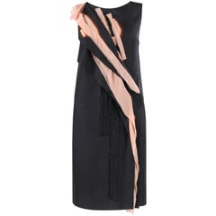 BOTTEGA VENETA Resort 2015 Black Pink Silk Layered Detail Sleeveless Shift Dress