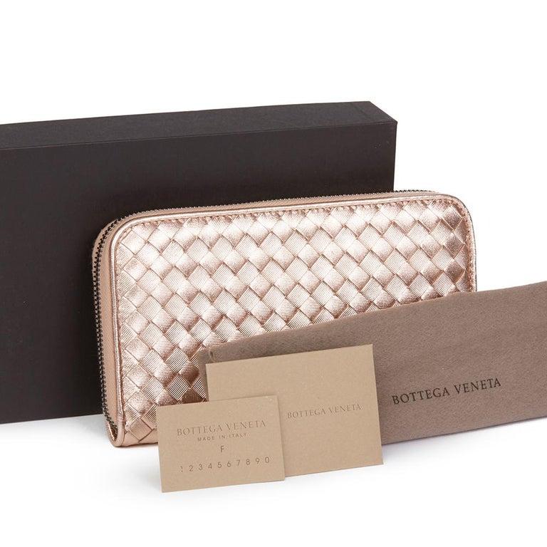 Bottega Veneta Rose Gold Woven Metallic Calfskin Leather Zip Around Wallet For Sale 6