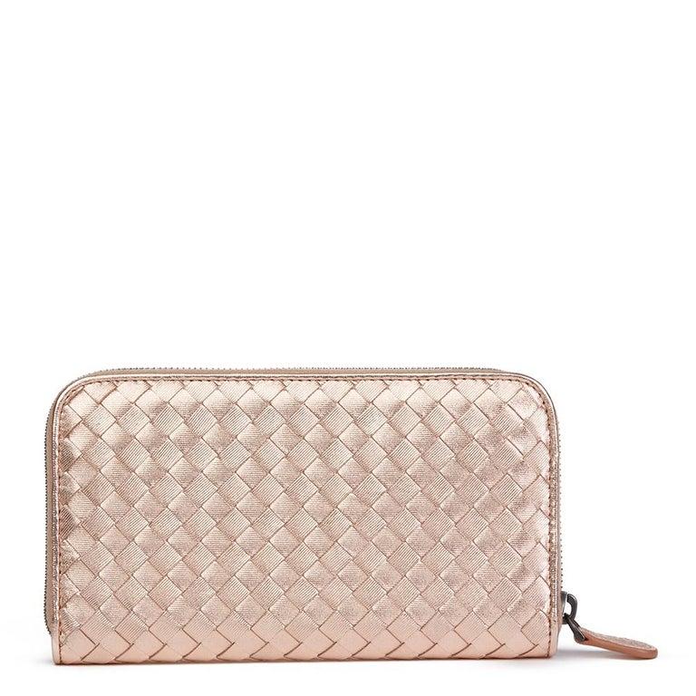 Women's Bottega Veneta Rose Gold Woven Metallic Calfskin Leather Zip Around Wallet For Sale