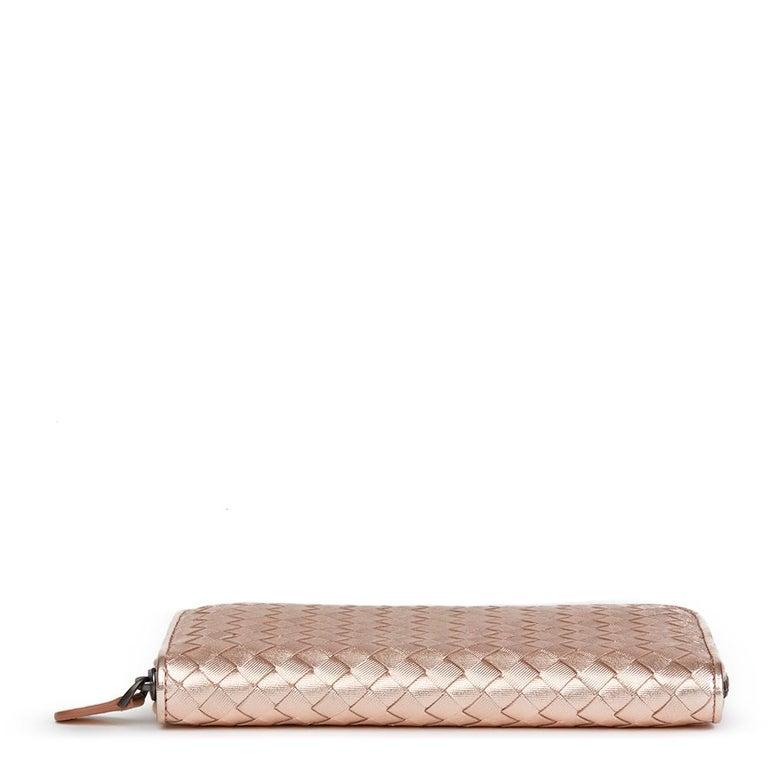 Bottega Veneta Rose Gold Woven Metallic Calfskin Leather Zip Around Wallet For Sale 1