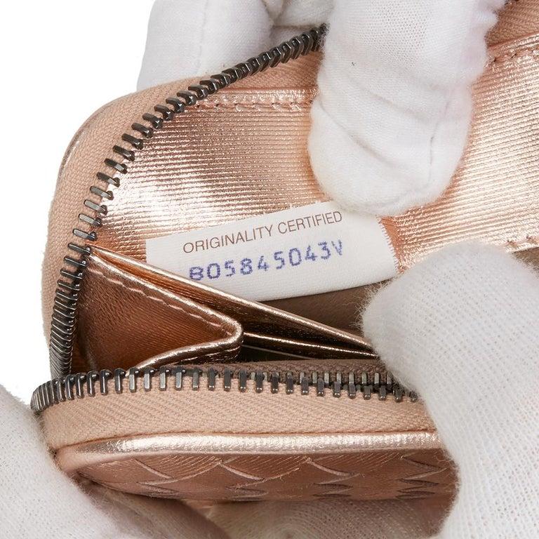 Bottega Veneta Rose Gold Woven Metallic Calfskin Leather Zip Around Wallet For Sale 4