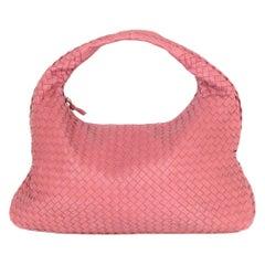 Bottega Veneta Rose Pink Nappa Intrecciato Woven Leather Large Hobo Bag
