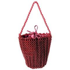 Bottega Veneta Ruby Red Beaded Handbag