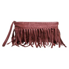 Bottega Veneta Rust Intrecciato Leather Fringe Clutch