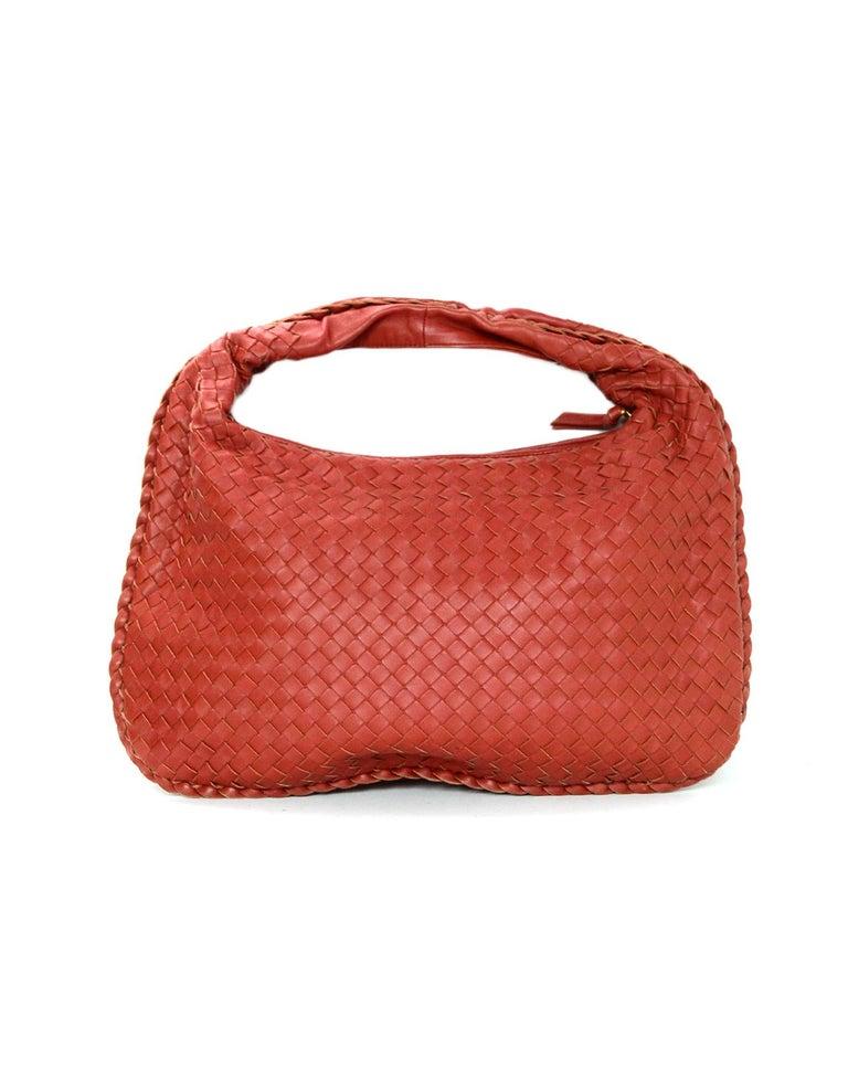 e99ea09dba80 Bottega Veneta Rust Red Woven Leather Nappa Intrecciato Medium Veneta Hobo  Bag In Excellent Condition For