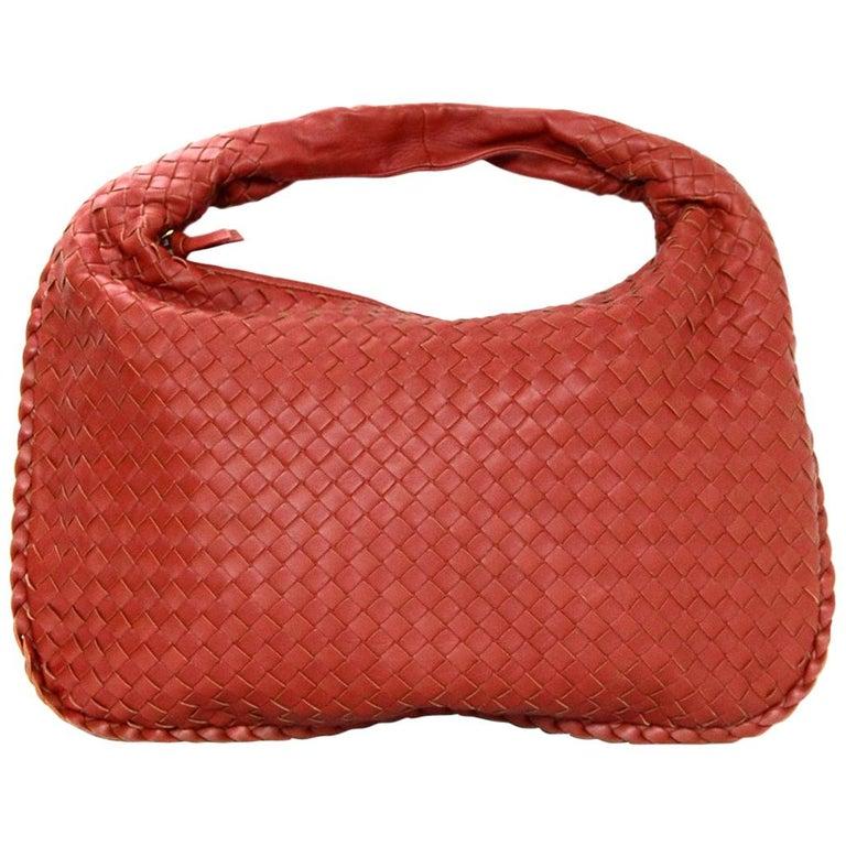 ac29696aff94 Bottega Veneta Rust Red Woven Leather Nappa Intrecciato Medium Veneta Hobo  Bag For Sale