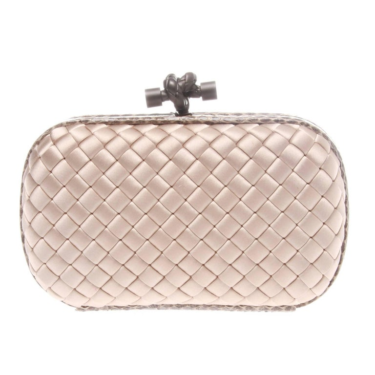 Bottega Veneta Satin Watersnake Knot Clutch