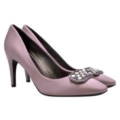 Bottega Veneta Silk Purple Crystal Embellished Pumps 38.5