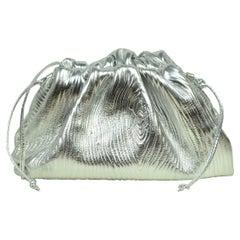 Bottega Veneta Silver Metallic Bark Embossed Leather Mini Pouch Crossbody Bag