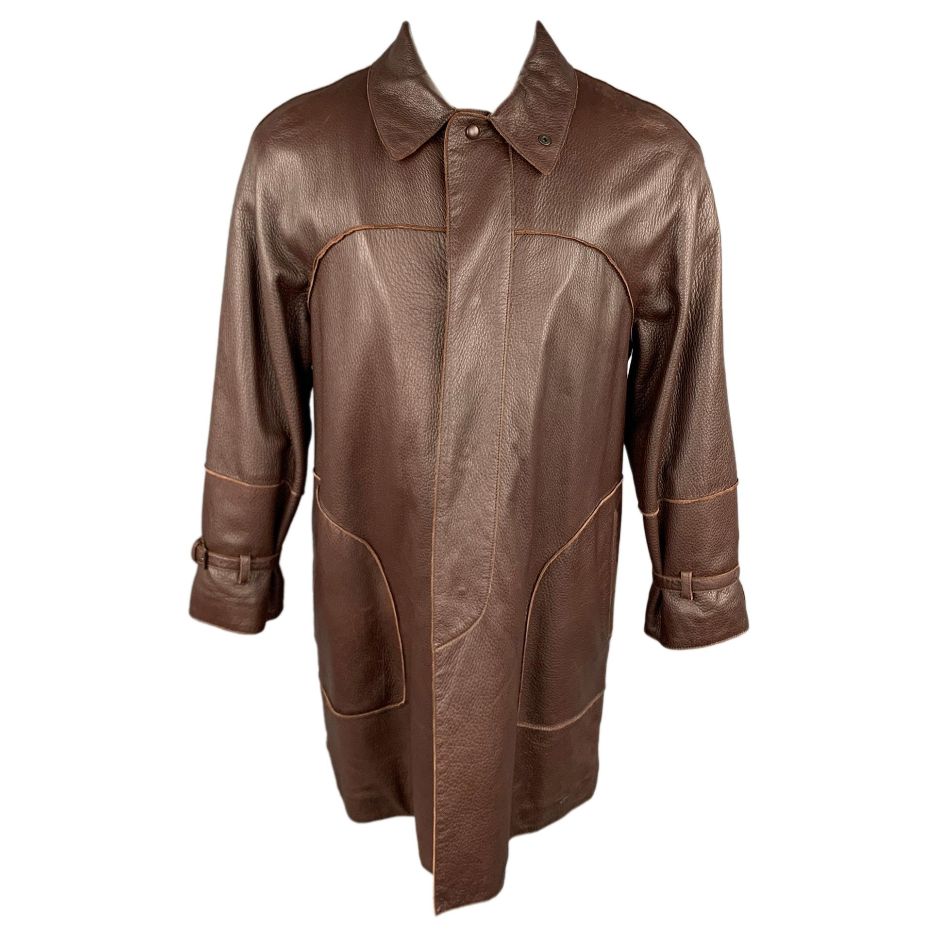 BOTTEGA VENETA Size 38 Brown Leather Hidden Snaps Coat