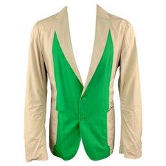 BOTTEGA VENETA Size 42 Khaki & Green Color Block Light Weight Cotton Sport Coat