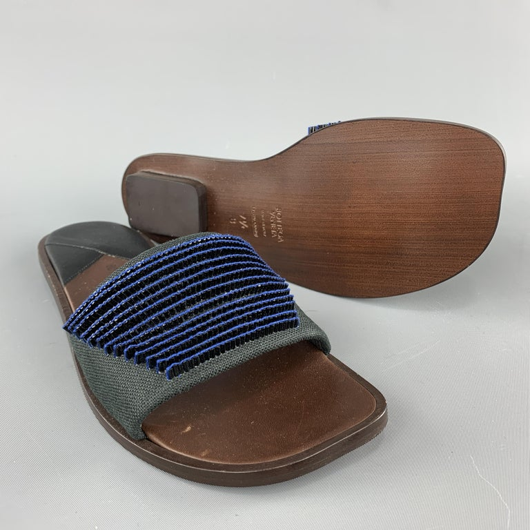 BOTTEGA VENETA Size 7.5 Navy Blue Black Beaded Canvas Strap Brown Leather Sandal In New Condition For Sale In San Francisco, CA