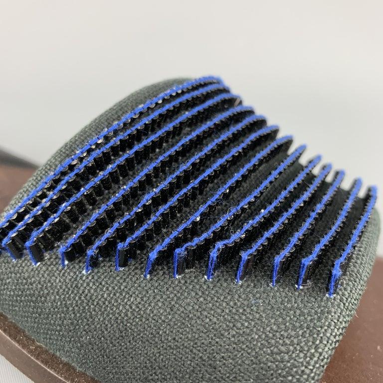 Women's BOTTEGA VENETA Size 7.5 Navy Blue Black Beaded Canvas Strap Brown Leather Sandal For Sale