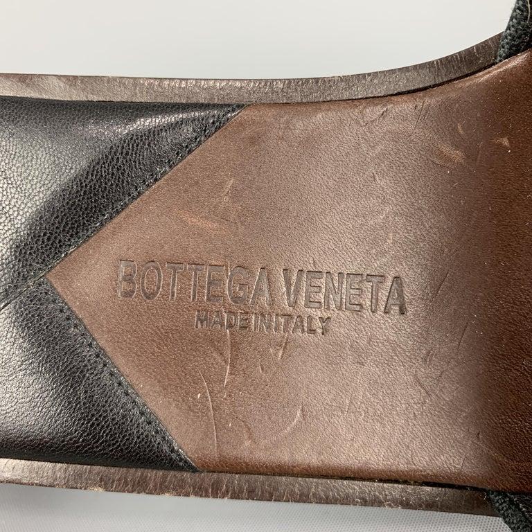 BOTTEGA VENETA Size 7.5 Navy Blue Black Beaded Canvas Strap Brown Leather Sandal For Sale 1