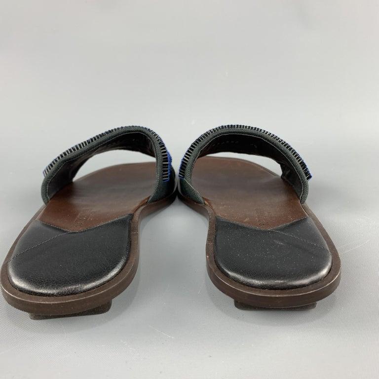 BOTTEGA VENETA Size 7.5 Navy Blue Black Beaded Canvas Strap Brown Leather Sandal For Sale 2
