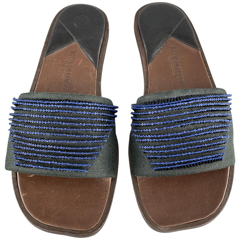 BOTTEGA VENETA Size 7.5 Navy Blue Black Beaded Canvas Strap Brown Leather Sandal For Sale