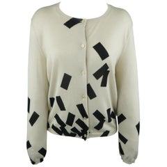 BOTTEGA VENETA Size 8 Beige & Black Geometric Cashmere / Silk Cardigan