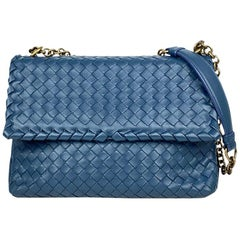 Bottega Veneta Small Blue Olimpia Crossbody Bag
