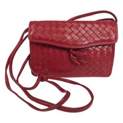 Bottega Veneta Small Red Intrecciato Soft Leather Cross Body Shoulder Bag