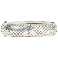 BOTTEGA VENETA sterling silver Intrecciato woven Bangle Bracelet