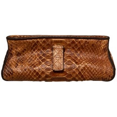 Bottega Veneta Tan Snakeskin Clutch