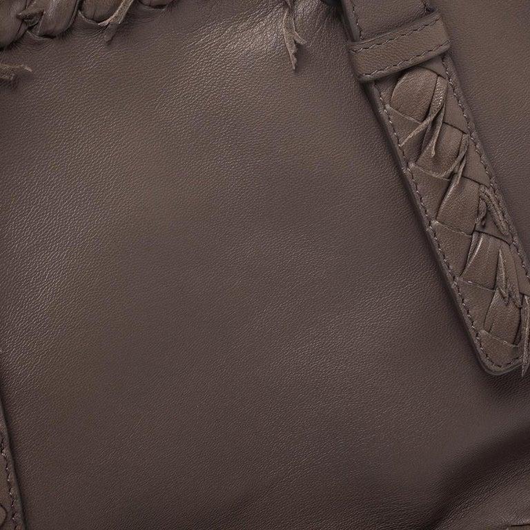 Bottega Veneta Taupe Intrecciato Leather Fringe Satchel For Sale 5