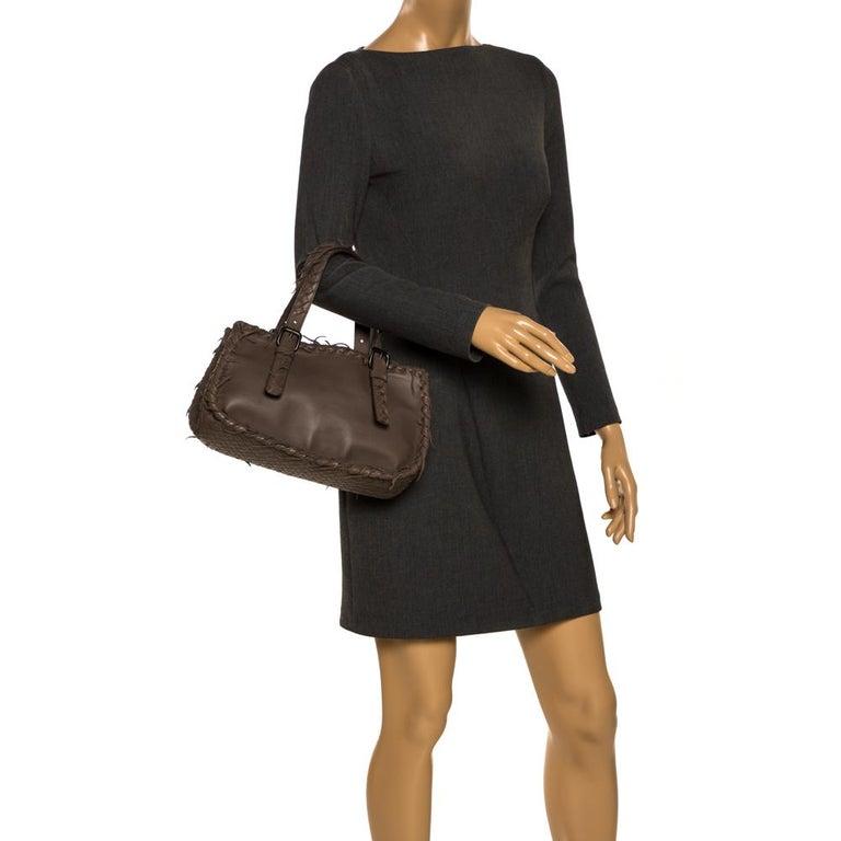 Black Bottega Veneta Taupe Intrecciato Leather Fringe Satchel For Sale