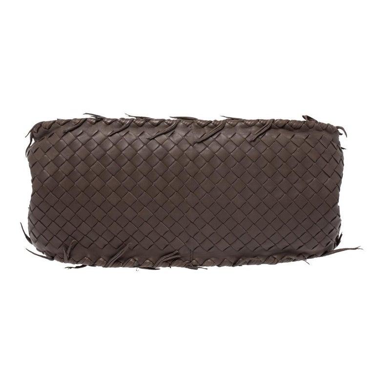 Women's Bottega Veneta Taupe Intrecciato Leather Fringe Satchel For Sale
