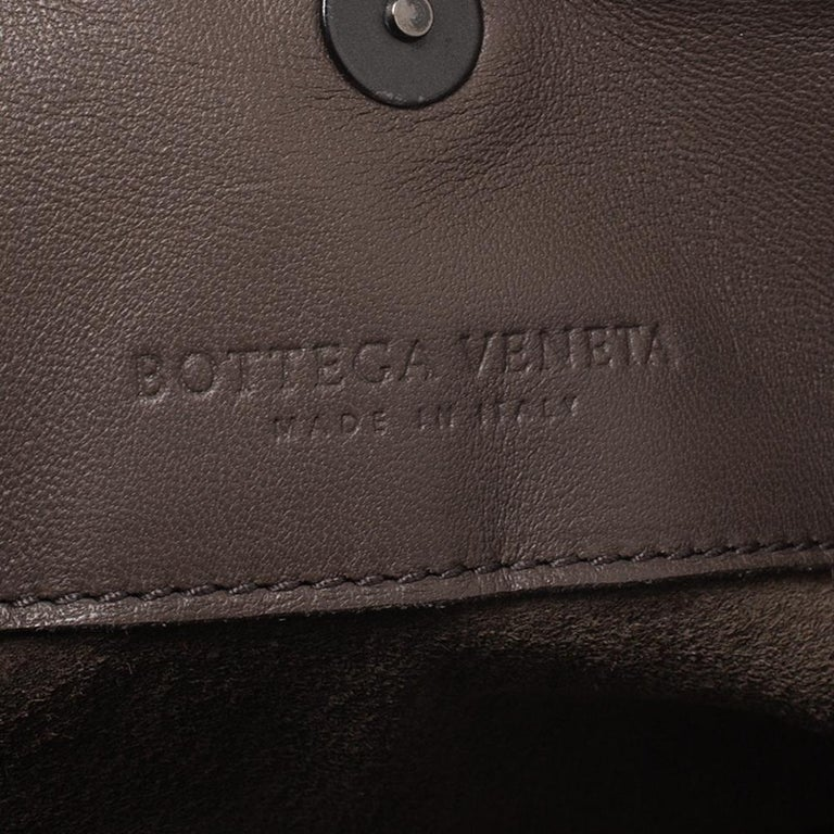 Bottega Veneta Taupe Intrecciato Leather Fringe Satchel For Sale 1