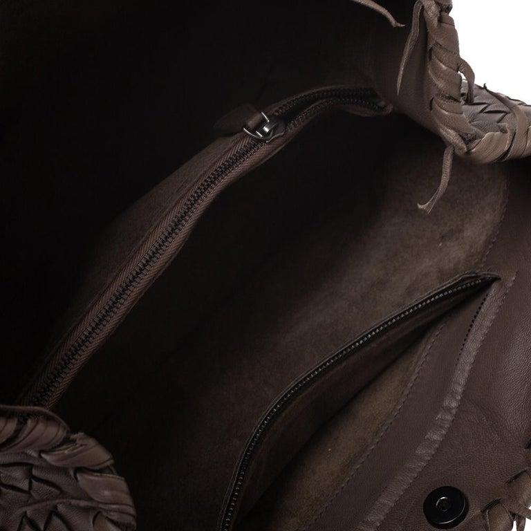 Bottega Veneta Taupe Intrecciato Leather Fringe Satchel For Sale 2