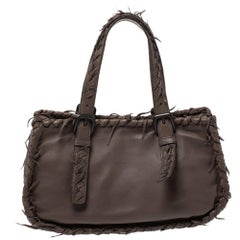 Bottega Veneta Taupe Intrecciato Leather Fringe Satchel