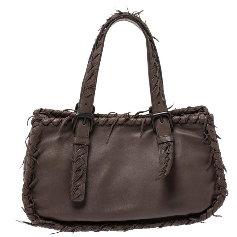 Bottega Veneta Taupe Intrecciato Leather Fringe Satchel For Sale