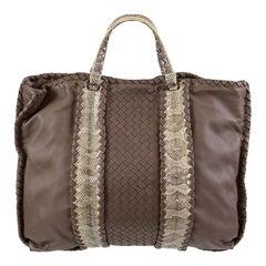 BOTTEGA VENETA taupe leather AYERS INTRECCIATO TOTE Bag