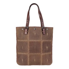 BOTTEGA VENETA taupe STINGRAY & brown leather Tote Bag