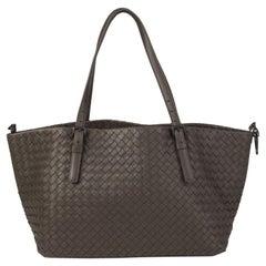 BOTTEGA VENETA taupe woven leather INTRECCIATO CRESTA MED Shopper Shoulder Bag