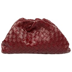 Bottega Veneta The Pouch Red Leather Clutch Purse Handbag