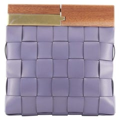 Bottega Veneta The Snap Clutch Maxi Intrecciato Leather with Wood and Met